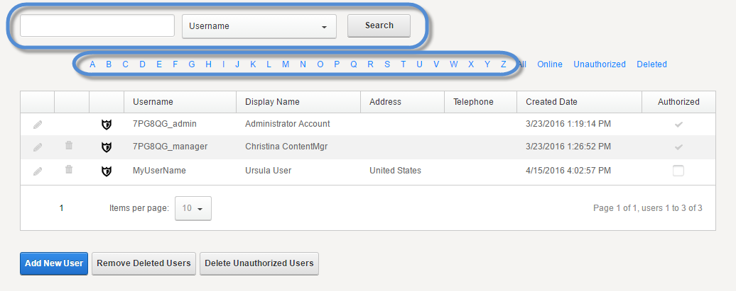 User List Search Field And Alphabet Filters