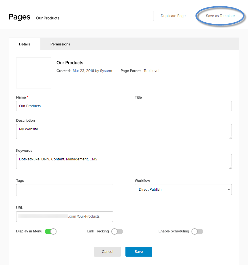 Create a Template Based on an Page via the Persona Bar